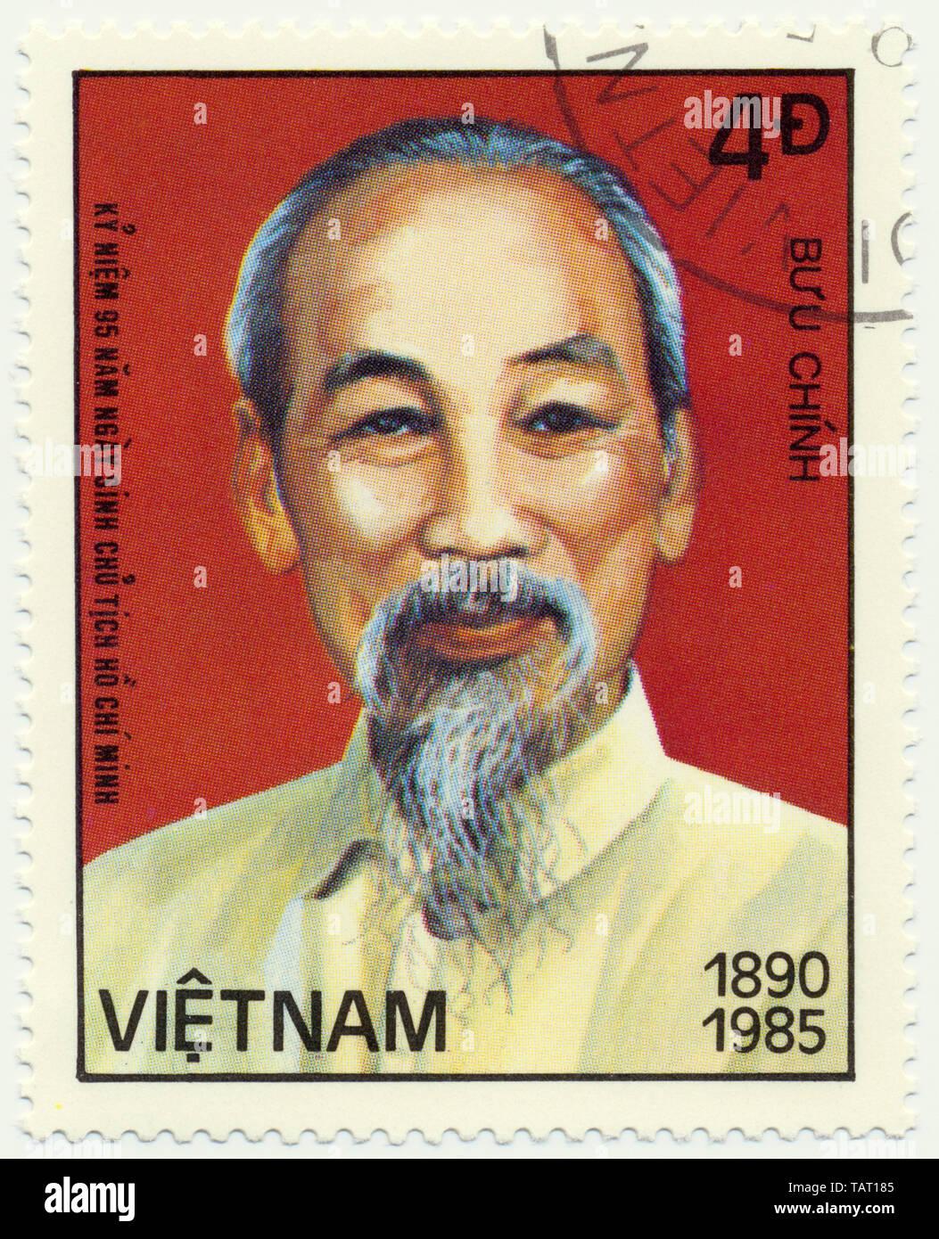 Historic postage stamps from Vietnam, Historische Briefmarken aus Vietnam, Ho Chi Minh, 1985 - Stock Image