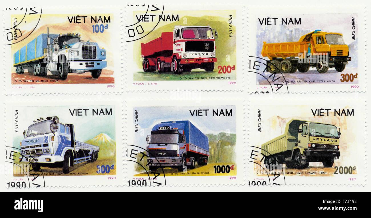 Historic postage stamps from Vietnam, Historische Briefmarken aus Vietnam, 1990, internationale Lastkraftwagen, Volvo, Hino, DAF, Mack, Iveco, Tatra - Stock Image