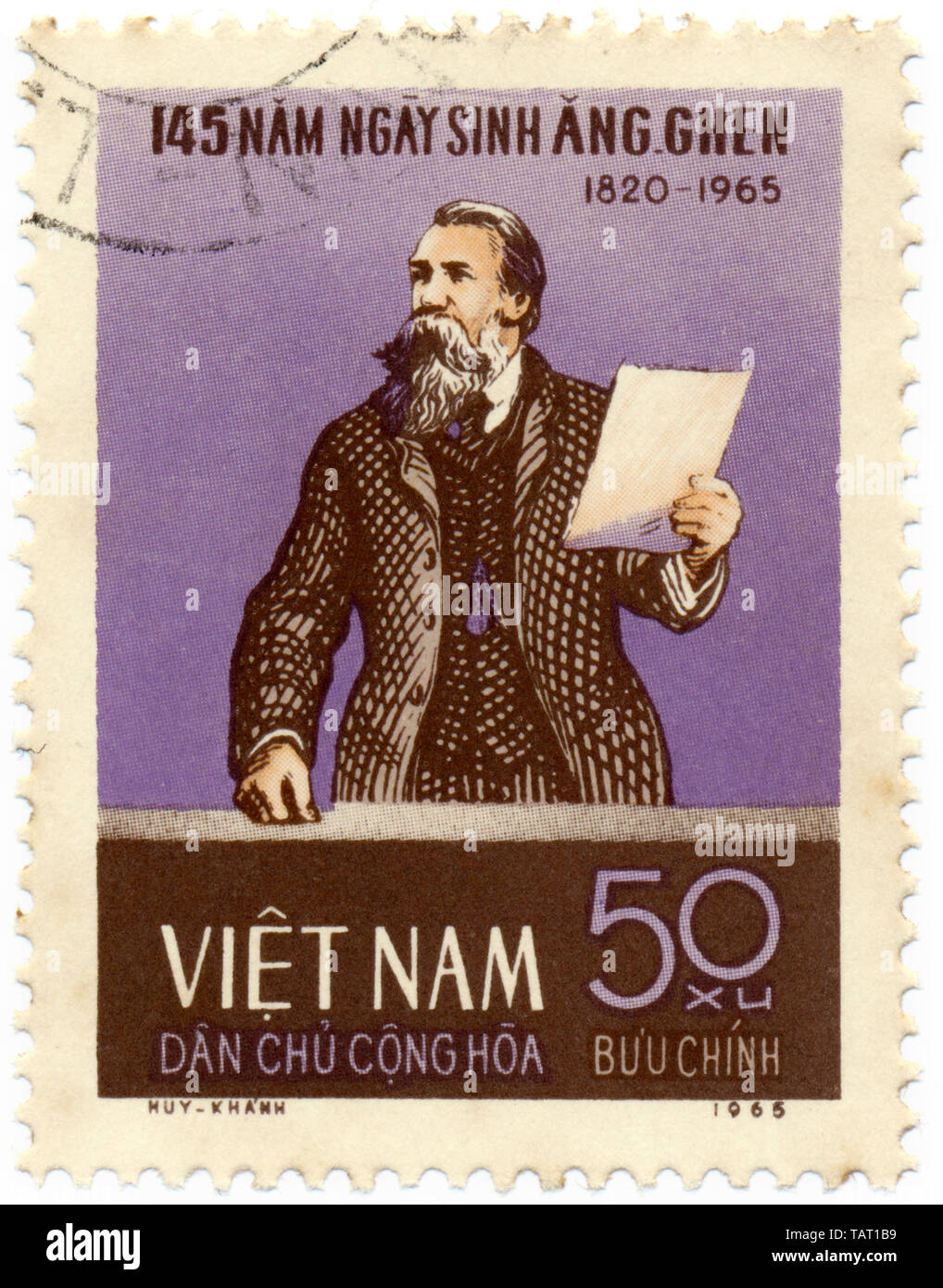 Historic postage stamps from Vietnam, Historische Briefmarken, Friedrich Engels, 1965, Vietnam, Asien - Stock Image