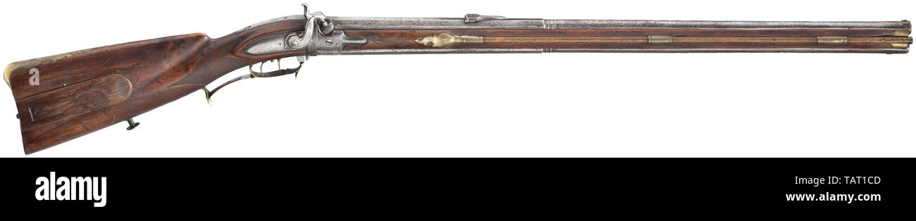 Civil long arms, flintlock and caplock, caplock turned rifle, German, circa 1780, Additional-Rights-Clearance-Info-Not-Available - Stock Image