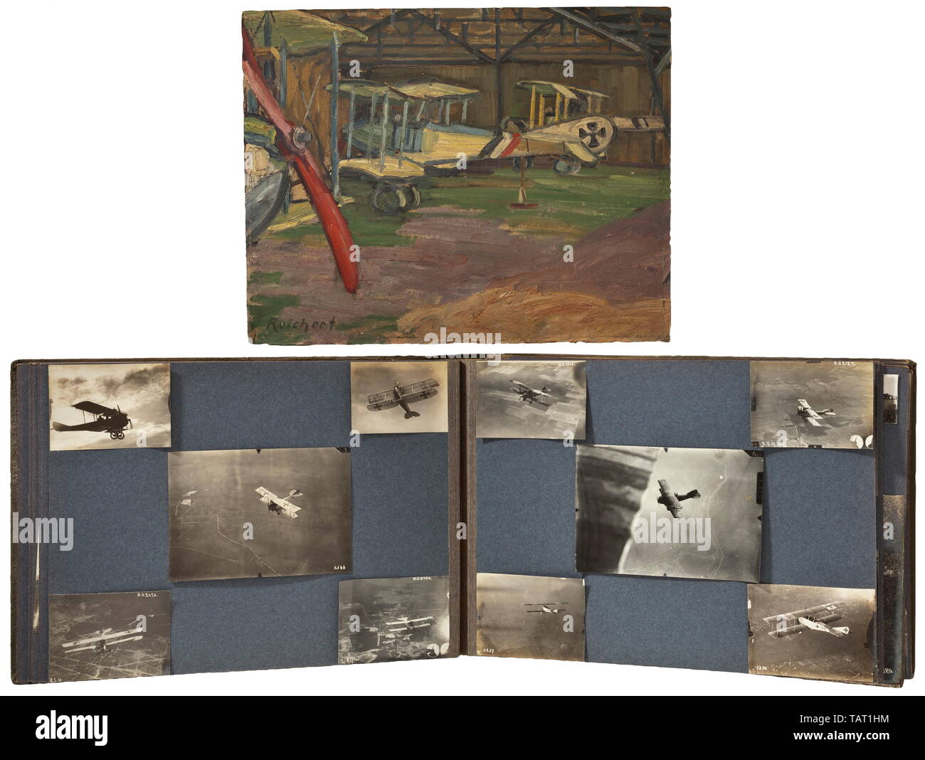 A photograph album of the Air Replacement Unit 10 (Böblingen), A large photograph album with a total of circa 195 photos. Pictures of biplanes, most with identification and/or national emblems. Numerous aerial photographs showing positions, trenches and cities (Lake Constance area). Excellent technical photographs of aircraft, some with machine guns, pilots in front of their planes or in the officers' mess, spectacular crash landings. Several portraits with medals and decorations. Numerous aerial photographs of zeppelins and airships in flight. Photos measuring from circa 6, Editorial-Use-Only - Stock Image