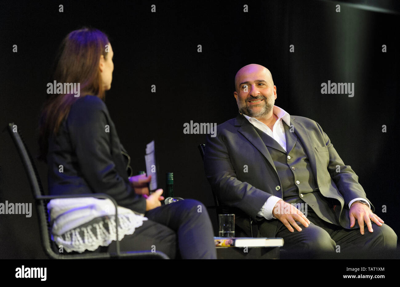 British-Iranian stand-up comedian, actor, television producer and writer Omid Djalili at the Cheltenham Literature Festival, October 9, 2014 - Stock Image