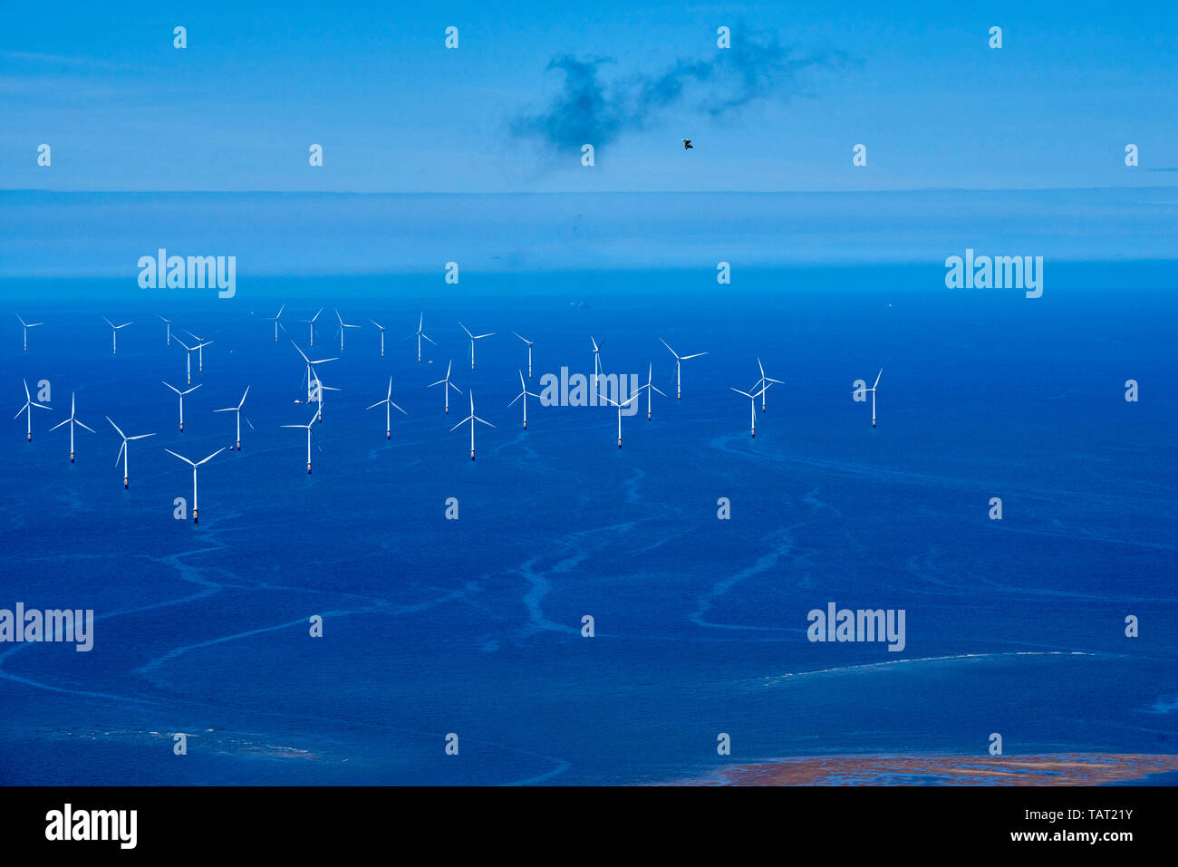 Off shore Windfarm off the mouth of the river Mersey, North West England, UK, with a Microlite flying above - Stock Image