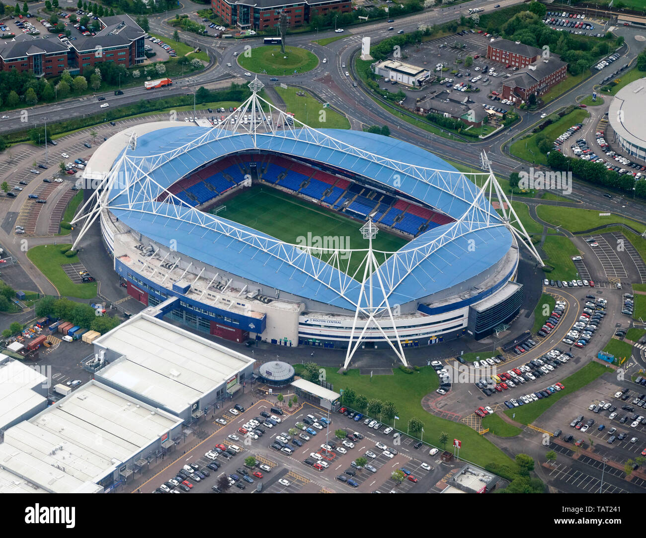 An aerial view of University of Bolton Stadium, Bolton Wanderers ground, North West England, UK Stock Photo