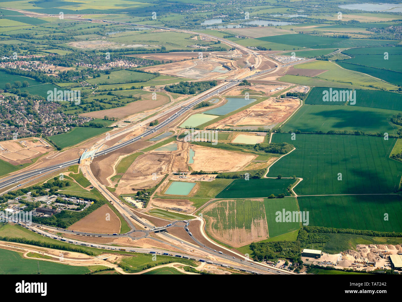 an aerial view of the new A14/A1 link Road construction, south west of Huntingdon, South East England, UK - Stock Image