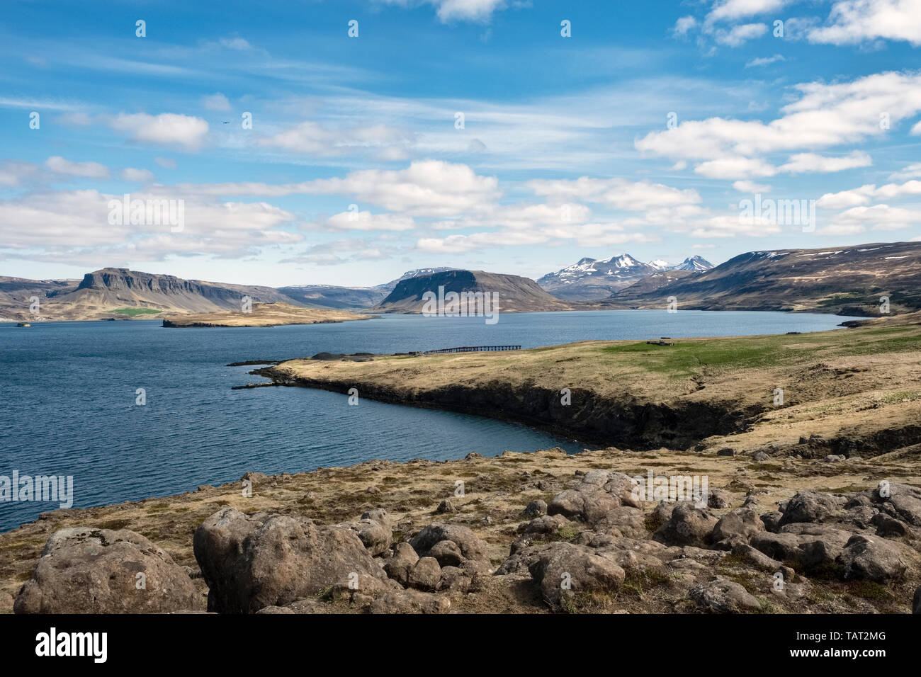 Hvalfjörður, Iceland. The remains of a pier can be seen in the distance, part of the World War II British naval base at Hvitanes - Stock Image