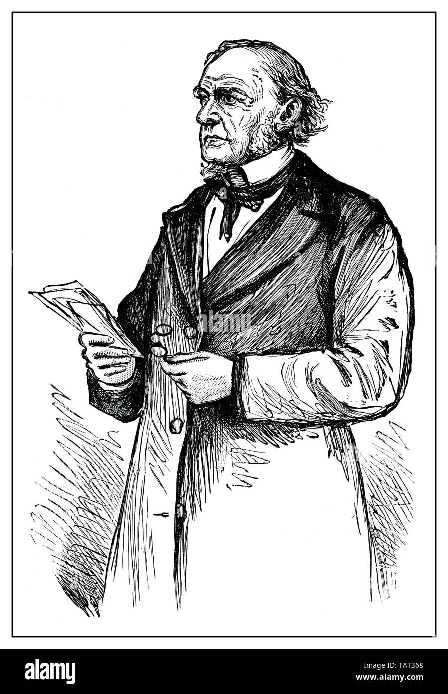 Portrait of the former British Prime Minister William Ewart Gladstone, historical engraving, 19th Century, Portrait des ehemaligen britischen Premierministers William Ewart Gladstone, historischer Stich aus dem 19. Jahrhundert - Stock Image