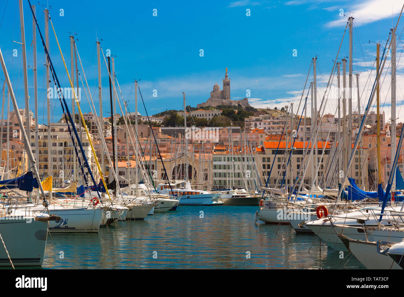 Old Port and Notre Dame, Marseille, France Stock Photo