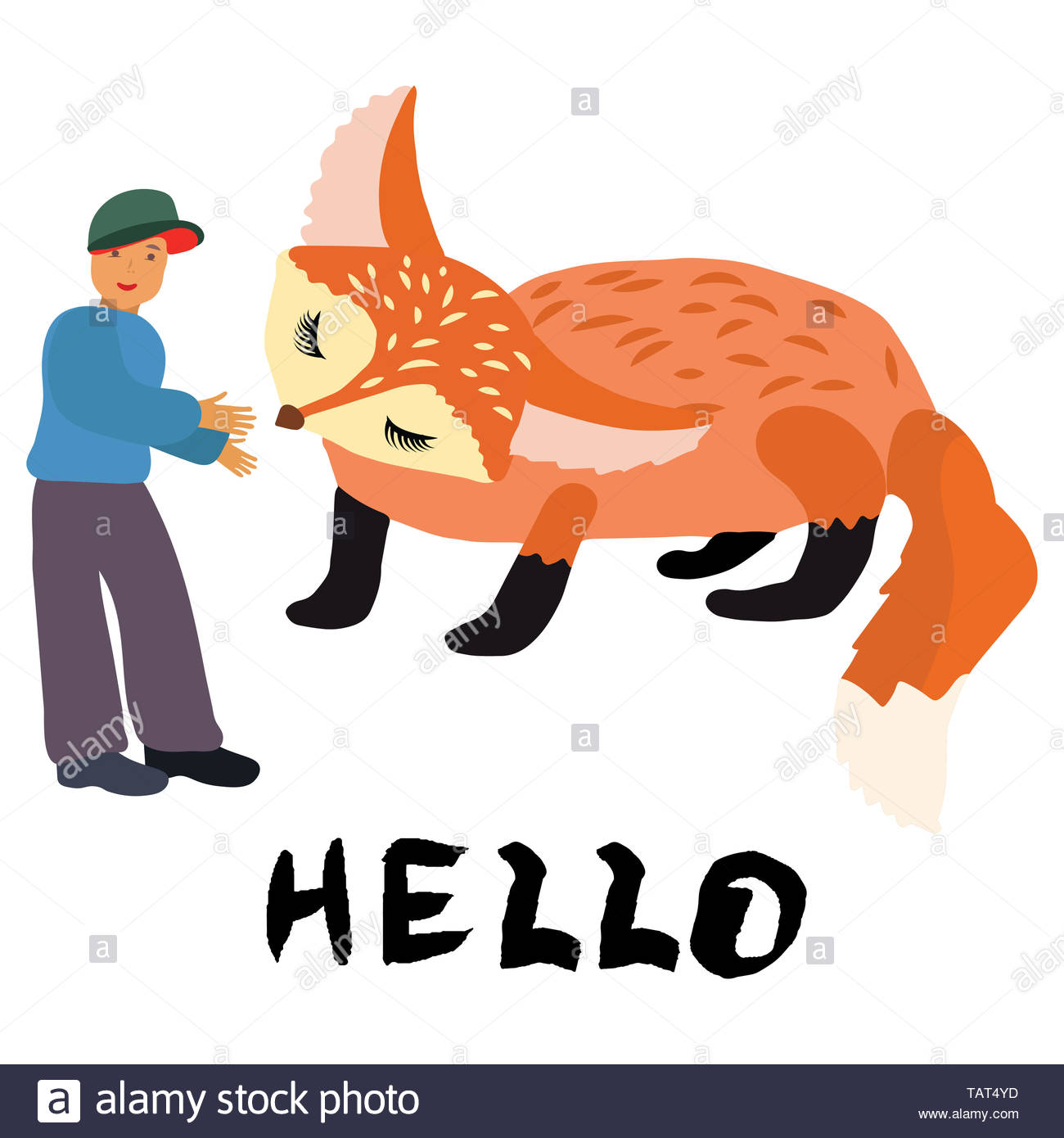 Boy and cute ginger fox with note hello. Smiling boy feeding cute ginger fox illustration. Hand lettering hello. White background. - Stock Image