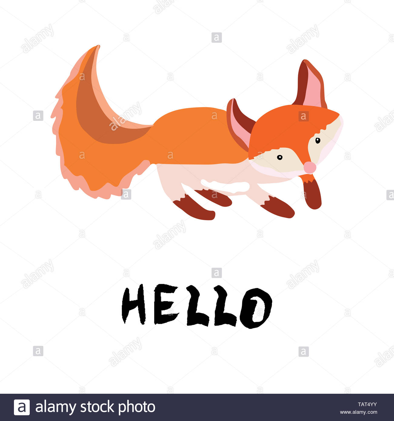 Ginger cute fox hand illustration. Hand lettering hello. White background. - Stock Image