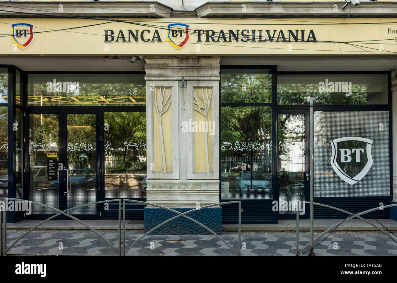 Frontage of a branch of the Romanian bank, Banka Transilvania, BT, in the Old Town area of central Bucharest, Romania - Stock Image