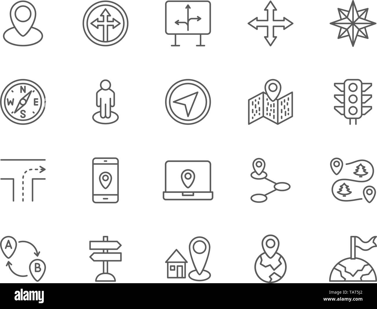 Set of Navigation Line Icons. Compass, Location Pin, GPS Navigation and more. - Stock Vector