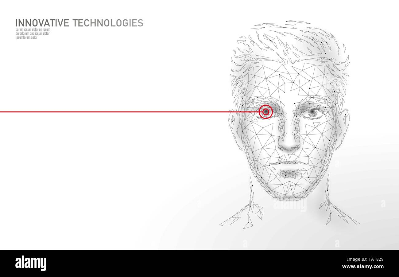 Low poly male human face biometric identification. Recognition system concept. Personal data secure access scanning innovation technology. 3D Stock Vector