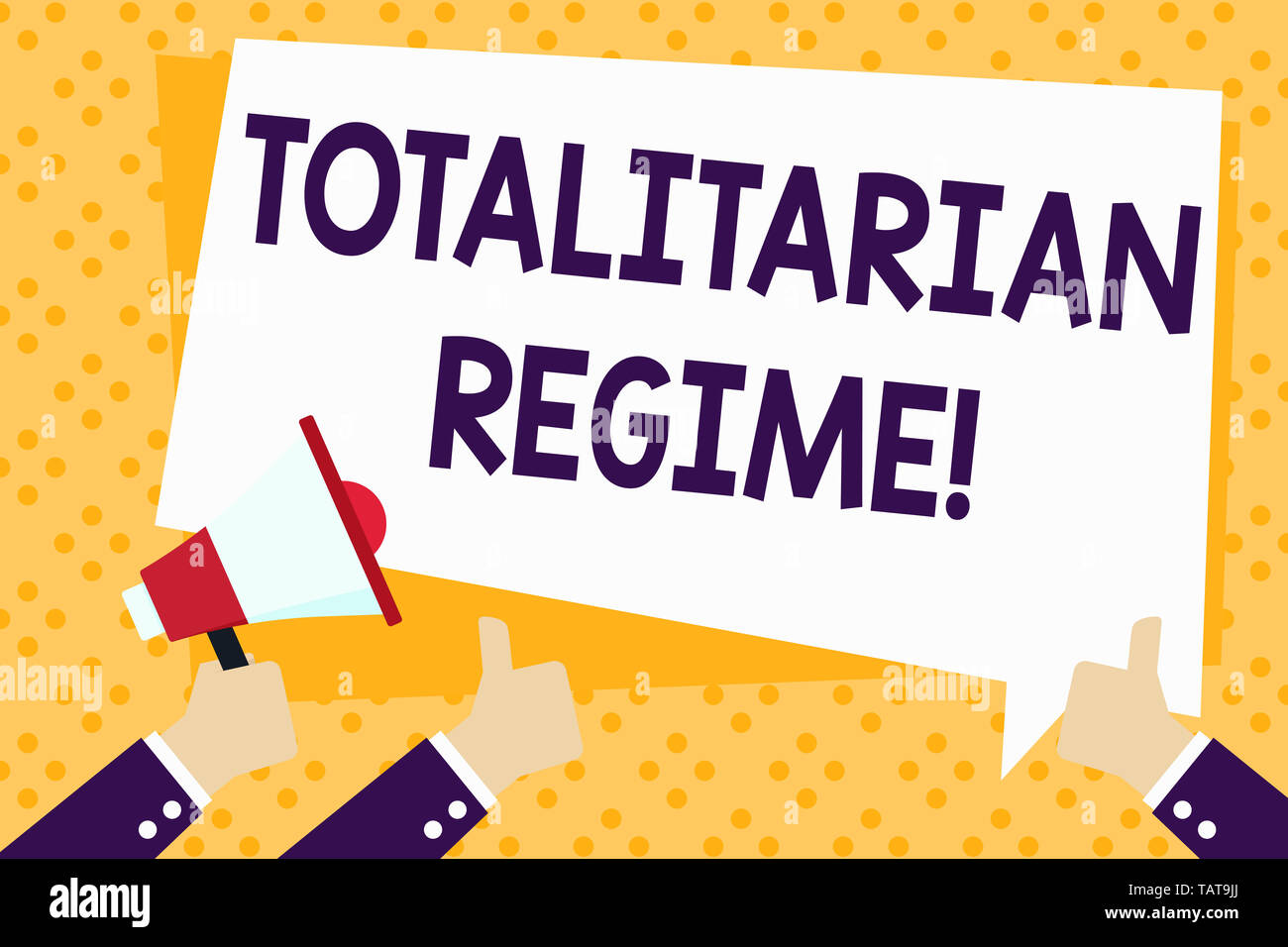 Writing note showing Totalitarian Regime. Business concept for mode of government that prohibits opposition parties Hand Holding Megaphone and Gesturi Stock Photo