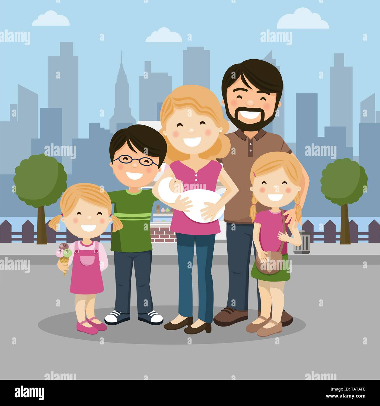 Happy family with parents, three children and babyborn in a city. People vector illustration - Stock Vector