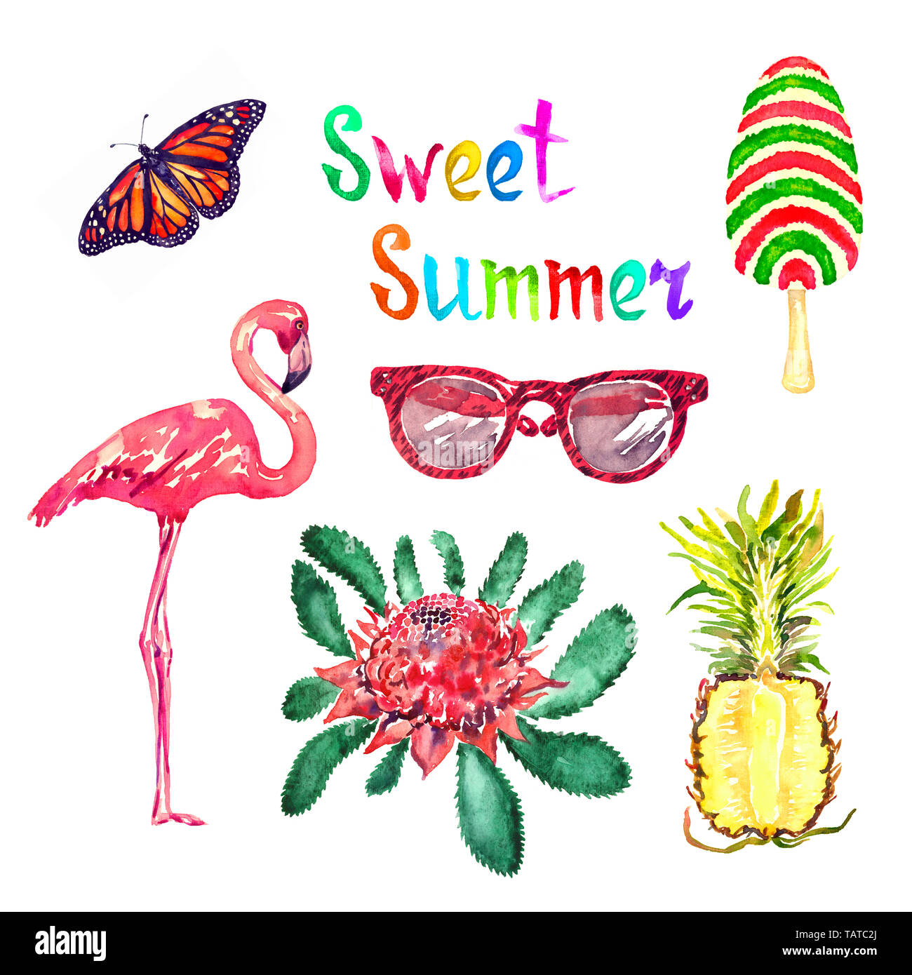 Sweet summer watercolor isolated illustration set, Monarch butterfly, glasses, striped ice cream, flamingo, New South Wales waratah (Telopea speciosis - Stock Image