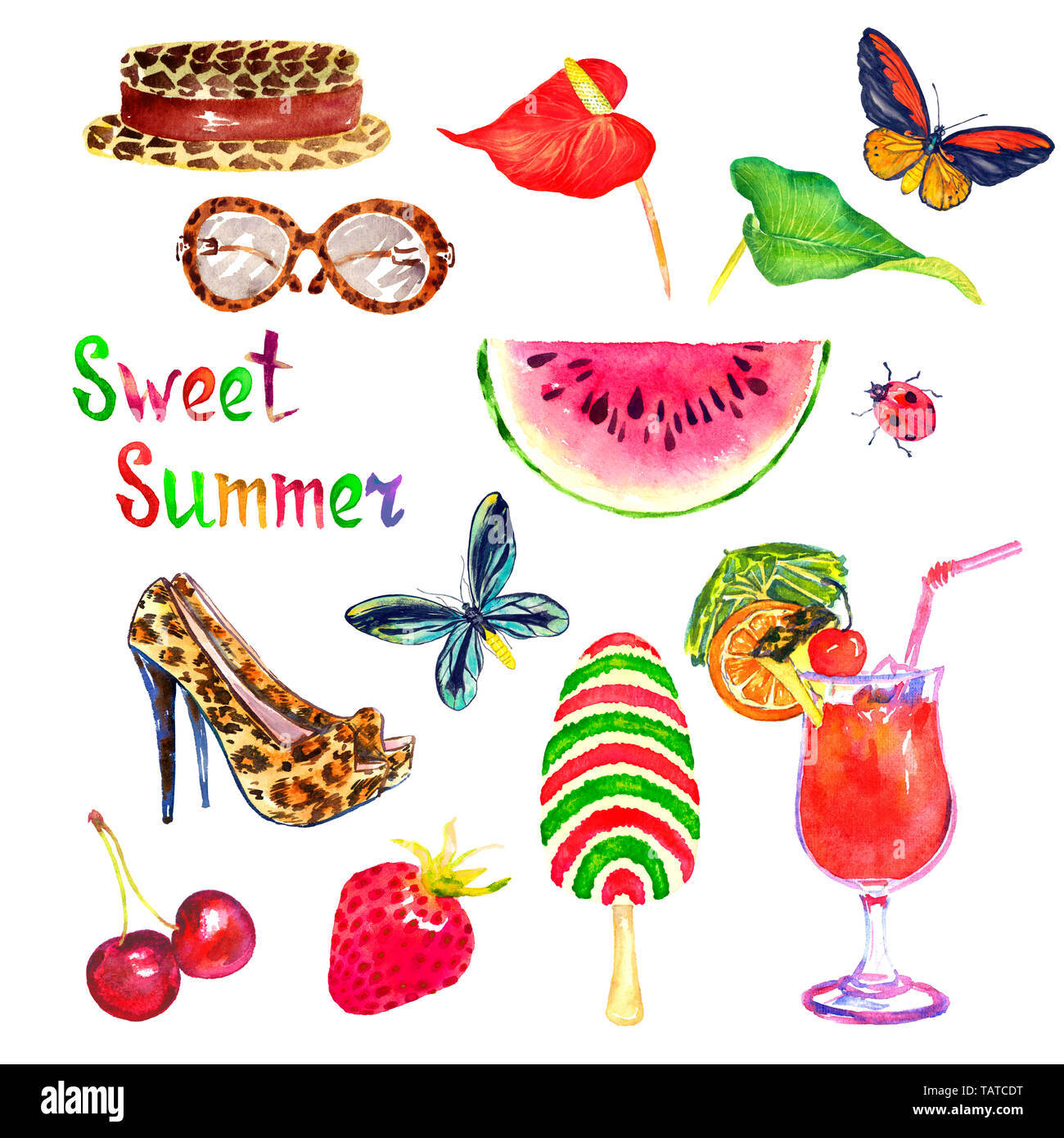 Sweet summer watercolor isolated illustration set, hat, sunglasses, stiletto shoes, cherry, strawberry, watermelon, ice cream, anthurium flower, Ornit - Stock Image