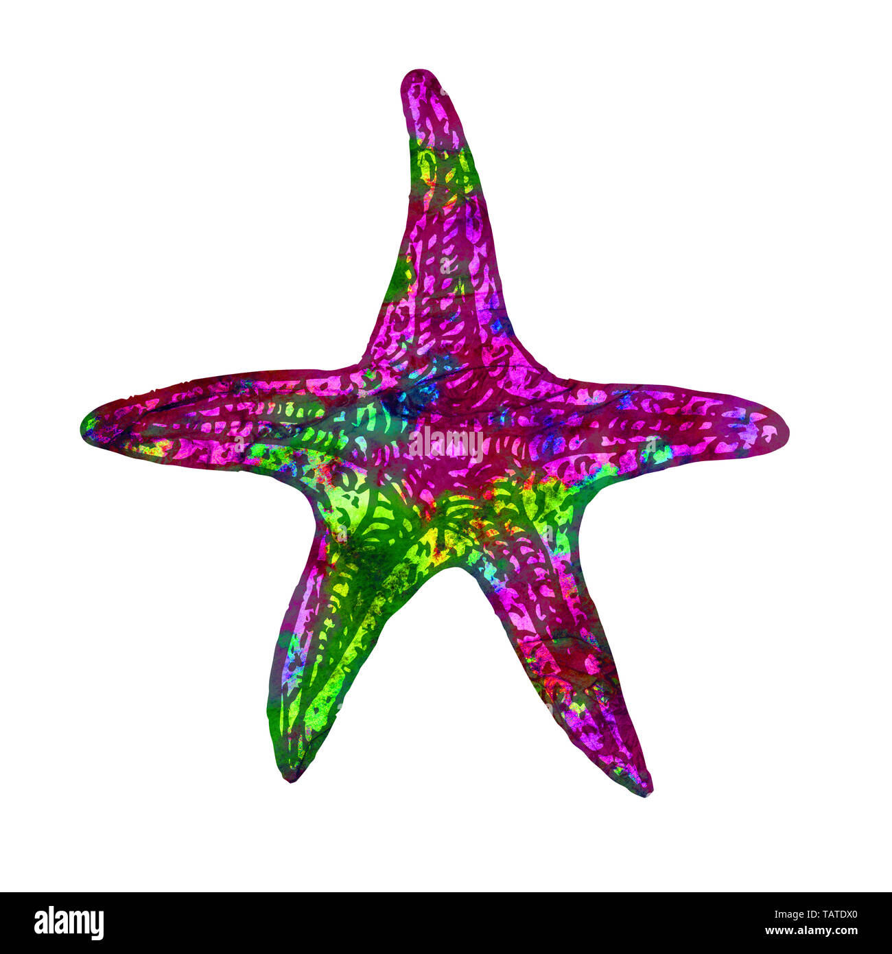 Sea star isolated illustration, hand painted colorful abstract watercolor magenta, green, yellow splashes - Stock Image