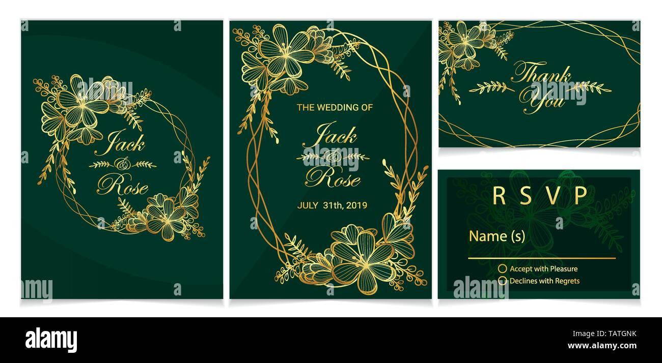 Wedding Invitation Set Golden Floral And Frame With Dark