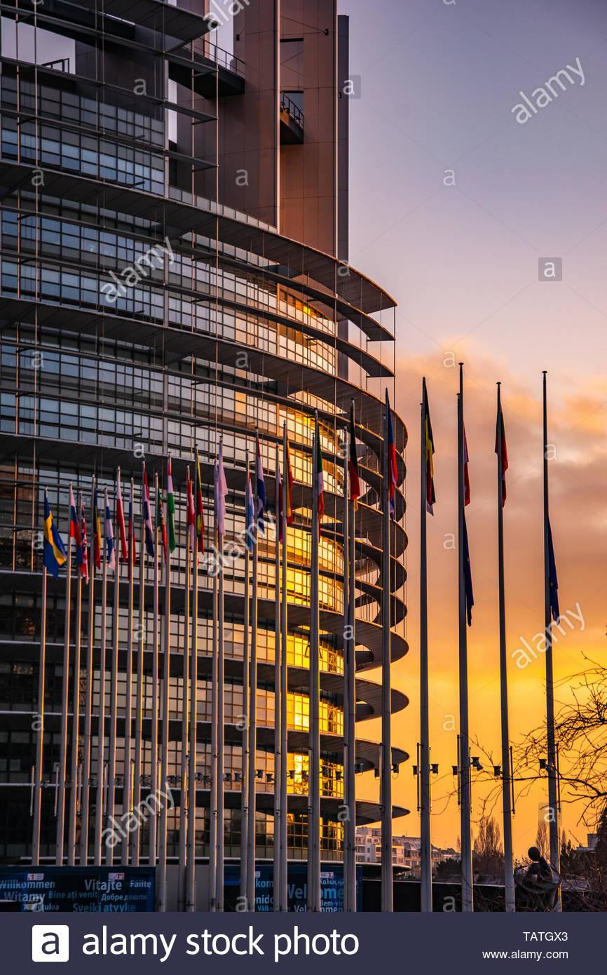 EU Parliament Strasbourg at Sunset - Stock Image