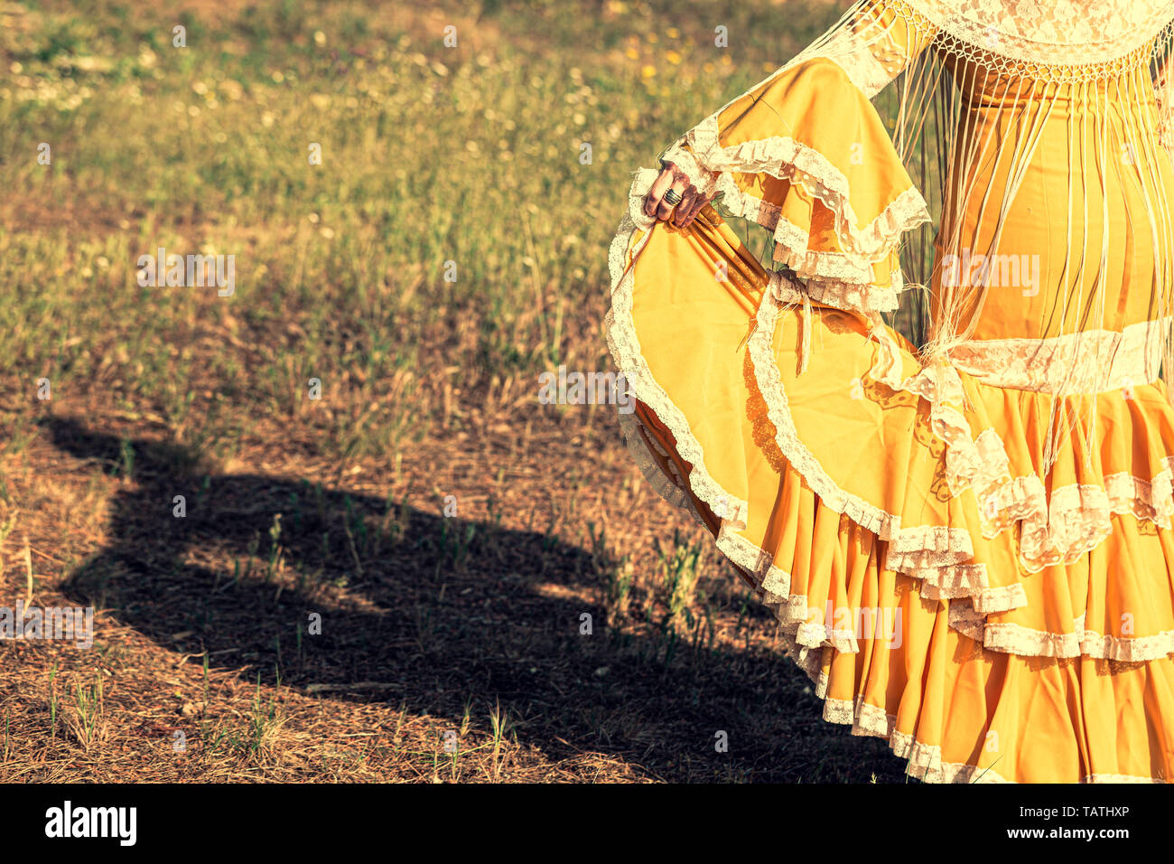 Shadow of woman on the floor dressed in yellow flamenco dress with manila shawl and fringes - Stock Image