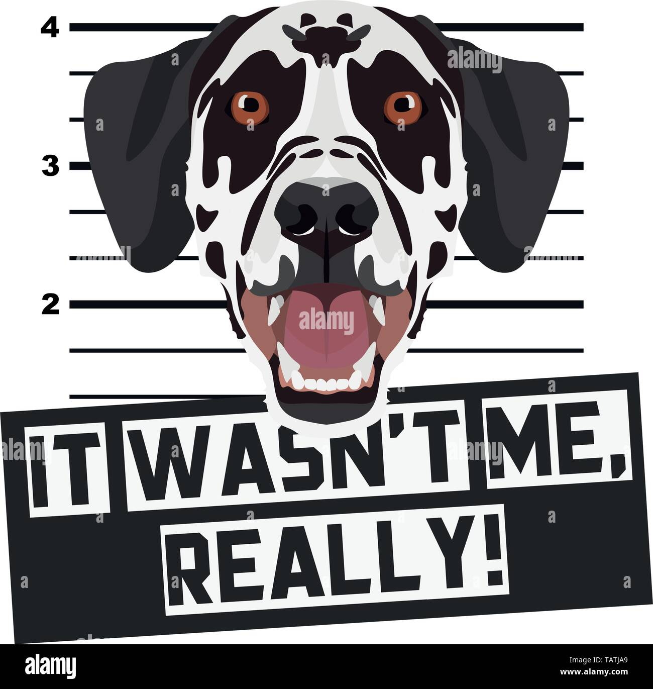 Illustration Mugshot Dalmatian - The guilty dog gets a police photo. Dog lovers and dog fans love them sassy dog. - Stock Vector