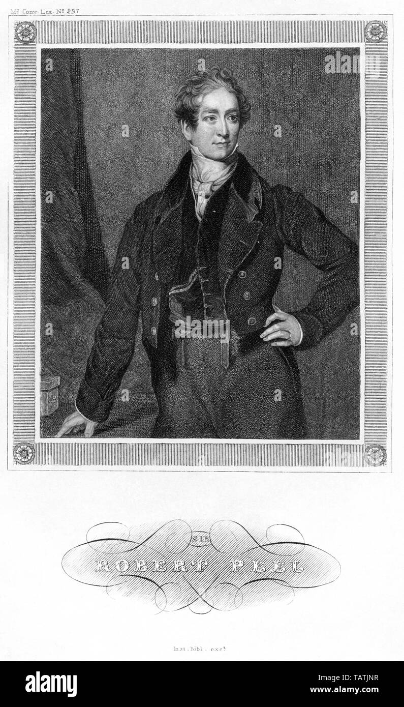 Europa, Großbritannien, London, Sir Robert Peel, britischer Politiker, Stahlstich, herausgegeben beim Inst. Bibl. , wahrscheinlich 1850er Jahre , konv - Stock Image