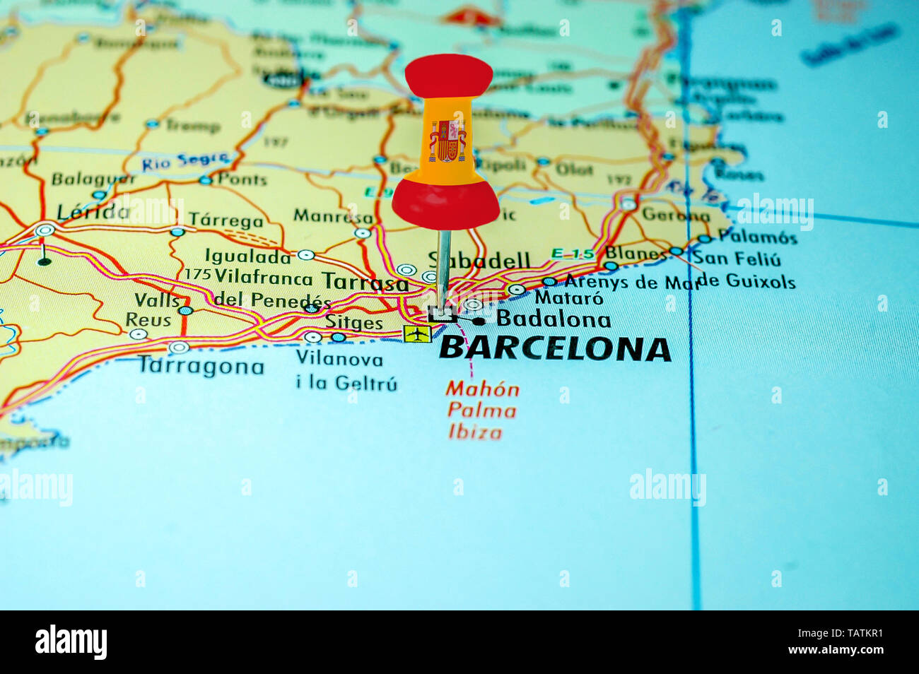 Map Of Spain Reus.Push Pin With Spain Flag Stuck On A Map Centered On The City Of