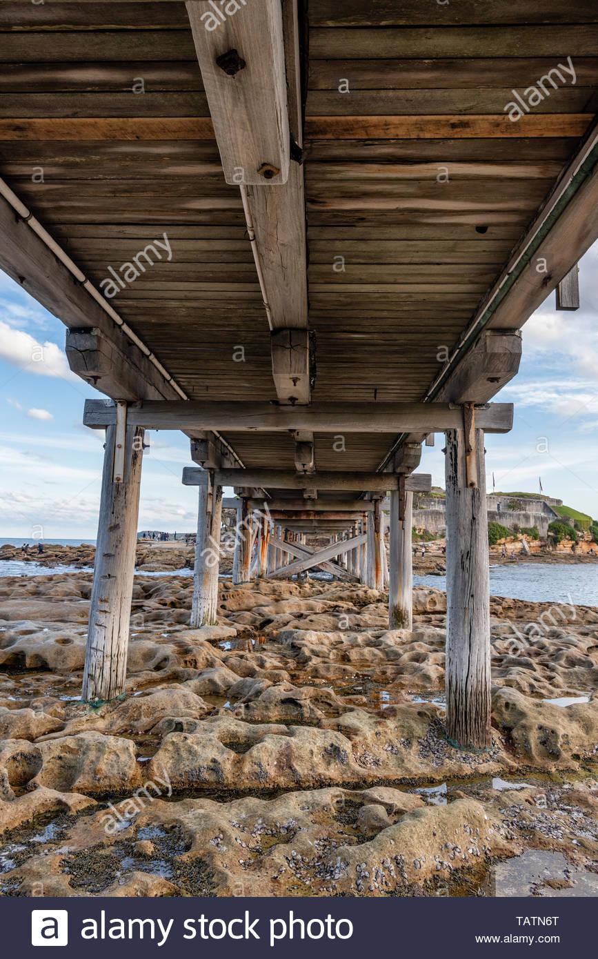 Wooden Bridge The Crosses To Bare Island Sydney Australia Stock