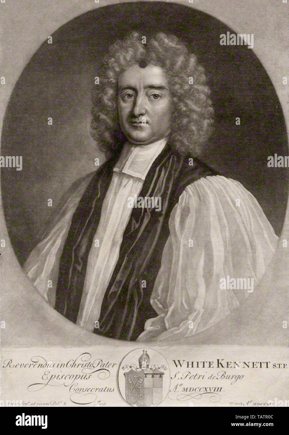 White Kennett (10 August 1660 – 19 December 1728) was an English bishop and antiquarian. He was educated at Westminster School and at St Edmund Hall, Oxford, where, while an undergraduate, he published several translations of Latin works, including Erasmus' In Praise of Folly. - Stock Image