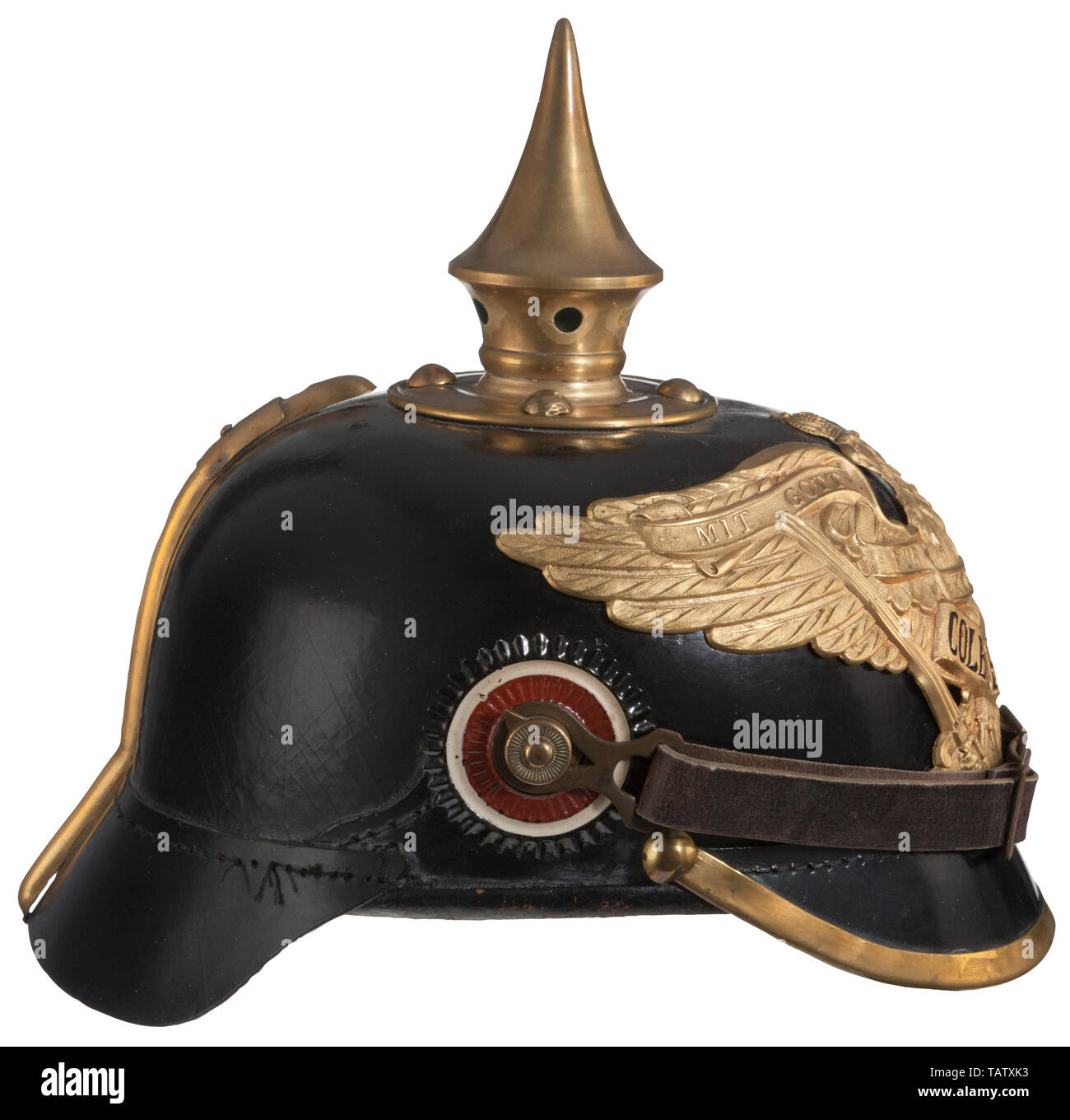 IMPERIAL GERMANY UNTIL 1914, An imperial German helmet M 1899 for enlisted men of the 9th Grenadier Infantry Regiment Black leather maker marked body with front and rear visors, good condition, brown leather lining stamped '1915', private purchase gilt Prussian grenadier eagle with 'Colberg 1807' honour banner attached by two nuts and screw posts, spike, base, spline, 91 lugs and front visor trim made of brass, four spike base attachment brads with splintas, leather chinstraps with brass buckles and 91 lug mounts, EM national and Prussian state c, Additional-Rights-Clearance-Info-Not-Available - Stock Image