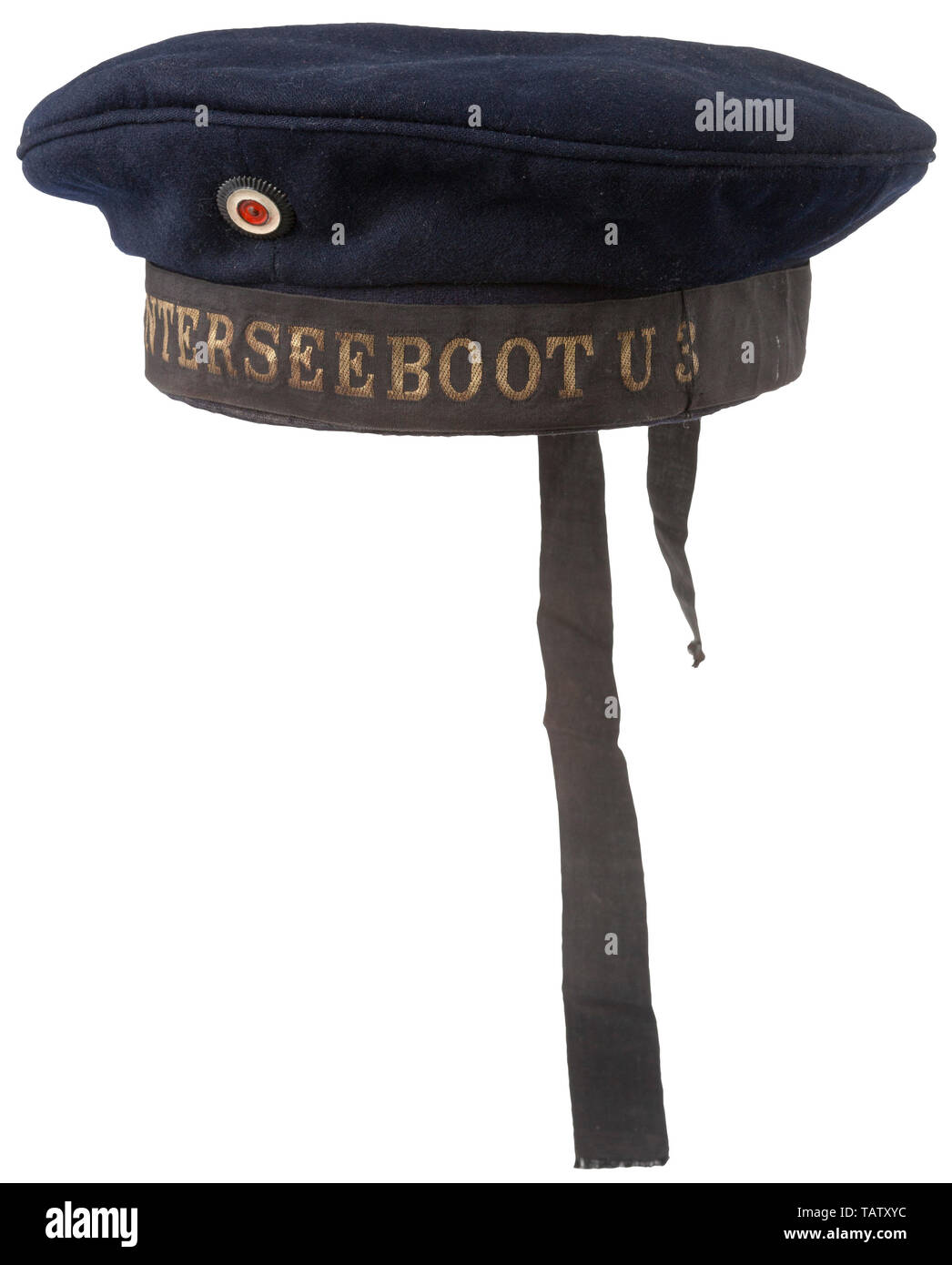 IMPERIAL GERMANY UNTIL 1914, An imperial German naval sailor cap Blue doe skin, blue cotton lining, embossed maker's logo, applied cloth owner's label, dark brown leather sweatband, black cap tally with 'S.M. Unterseeboot U3' in gold wire, metal cockade, part of cap tally missing. CCN193, Additional-Rights-Clearance-Info-Not-Available - Stock Image