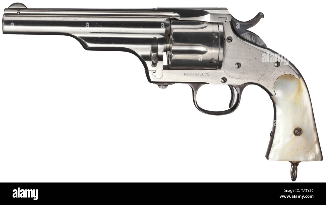 """A Hopkins & Allen Army Revolver, circa 1875, Cal..44-40, no. 24782. Bright bore, length 5 1/2"""". Six shots. Single action. On barrel rib company name with patents, on left side of frame marked """"CALIBRE / Winchester / 1873"""". Complete factory nickel plating, few spots in places. Case-hardened hammer. Mother-of-pearl grip panels. Lanyard loop. Manufactured for Merwin Hulbert & Co. by Hopkins & Allen. Erwerbsscheinpflichtig. civil handgun, civil handguns, handheld, gun, guns, firearm, fire arm, firearms, fire arms, weapons, arms, weapon, arm, historic, Additional-Rights-Clearance-Info-Not-Available Stock Photo"""