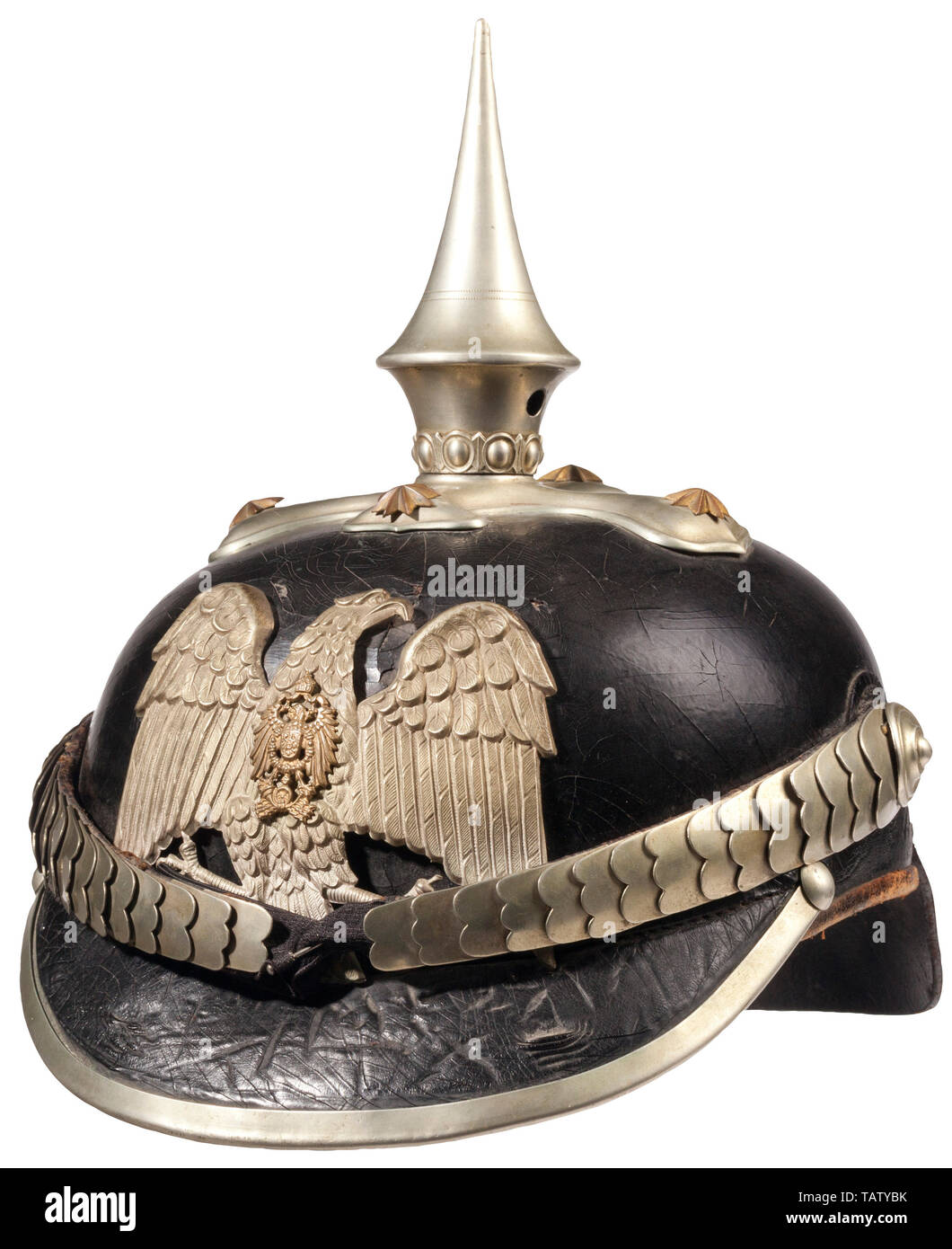 IMPERIAL GERMANY UNTIL 1914, An imperial German police spike helmet Black patent leather body, silver front plate, trim and chin scales, brown leather liner, inside crown is stamped. CCN7088, Additional-Rights-Clearance-Info-Not-Available - Stock Image