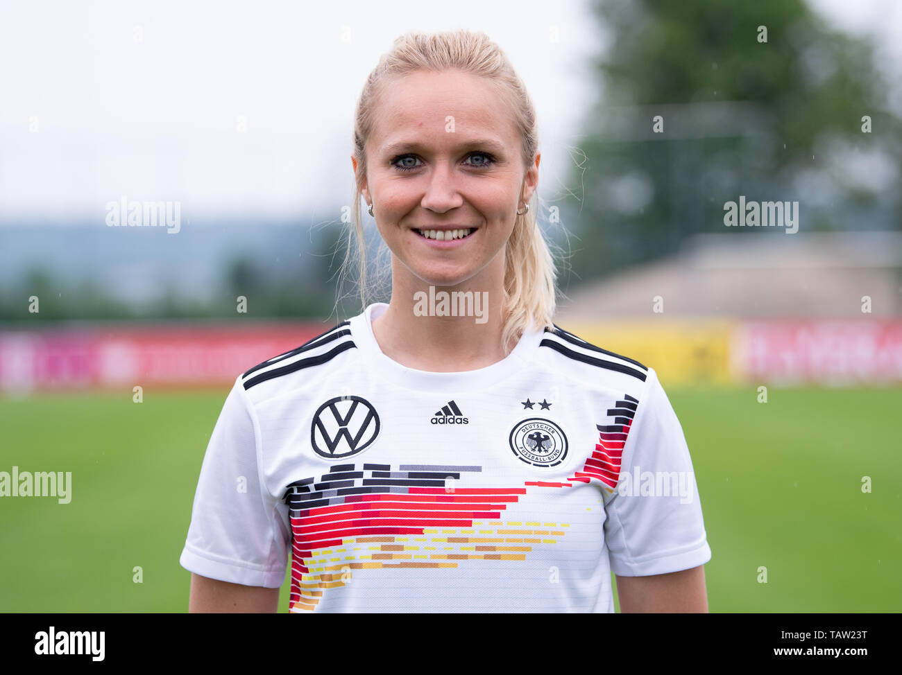 Grassau, Germany. 27th May, 2019. Football, women: World Cup final training camp of the DFB team. Turid Knaak at the photo shoot. Credit: Sven Hoppe/dpa/Alamy Live News - Stock Image