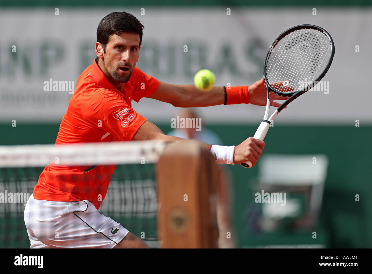Paris, France. 28th May, 2019. Paris, France. 28th May, 2019. Roland Garros, paris, France; French Open Tennis tournament; Novak Djokovic (SRB) gets to the net for a backhand volley gainst Hubert Hurkacz (POL) Credit: Action Plus Sports Images/Alamy Live News Credit: Action Plus Sports Images/Alamy Live News - Stock Image