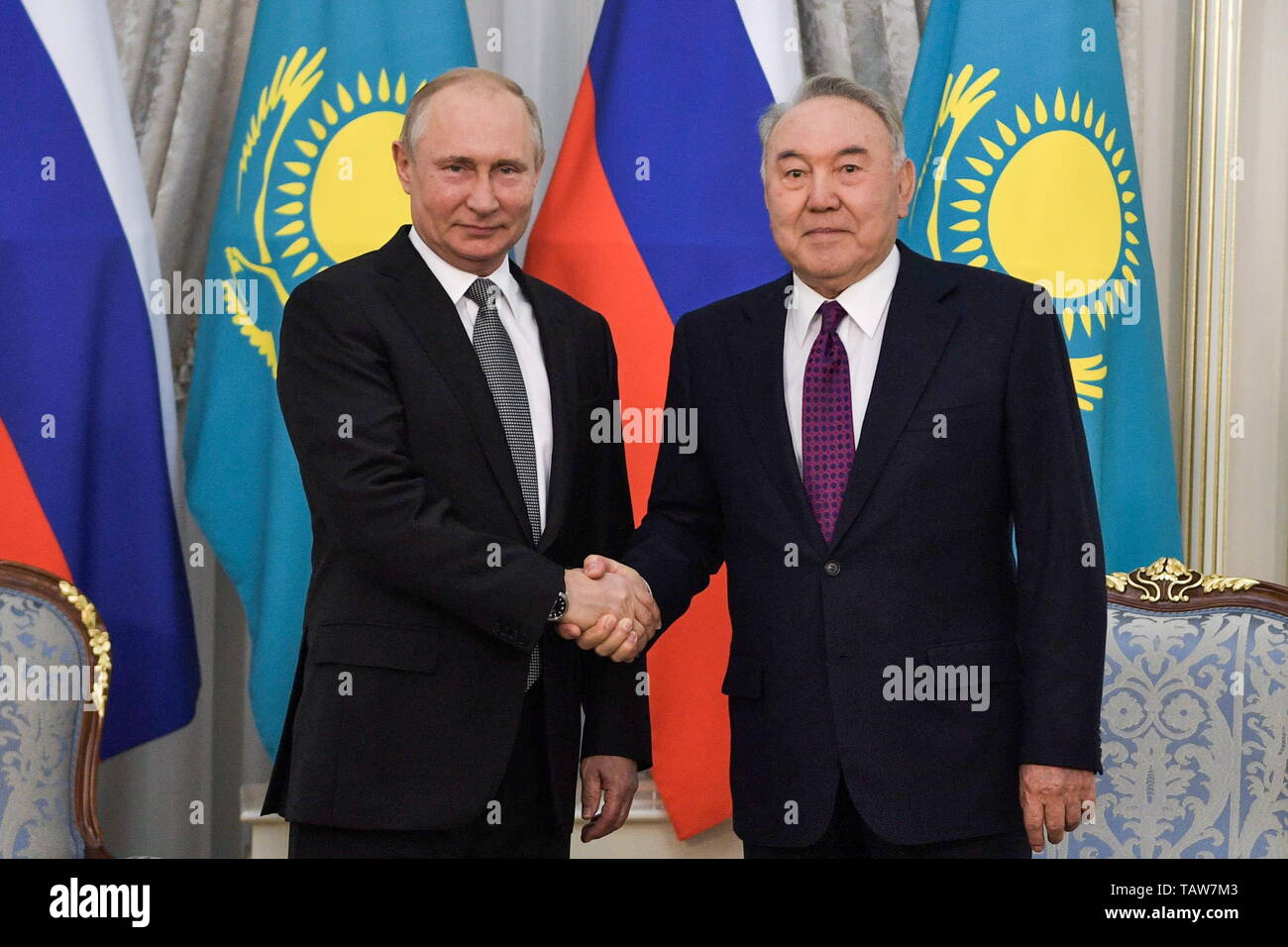 Nur Sultan, Kazakhstan. 28th May, 2019. NUR-SULTAN, KAZAKHSTAN - MAY 28, 2019: Russia's President Vladimir Putin (L) meets with Kazakhstan's Former President Nursultan Nazarbayev at the Akorda, the residence of the President of Kazakhstan. Alexei Nikolsky/Russian Presidential Press and Information Office/TASS Credit: ITAR-TASS News Agency/Alamy Live News - Stock Image