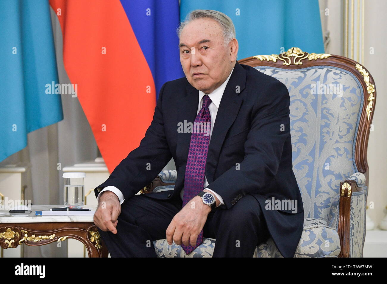 Nur Sultan, Kazakhstan. 28th May, 2019. NUR-SULTAN, KAZAKHSTAN - MAY 28, 2019: Kazakhstan's Former President Nursultan Nazarbayev during a meeting with Russia's President Vladimir Putin (not in picture) at the Akorda, the residence of the President of Kazakhstan. Alexei Nikolsky/Russian Presidential Press and Information Office/TASS Credit: ITAR-TASS News Agency/Alamy Live News - Stock Image