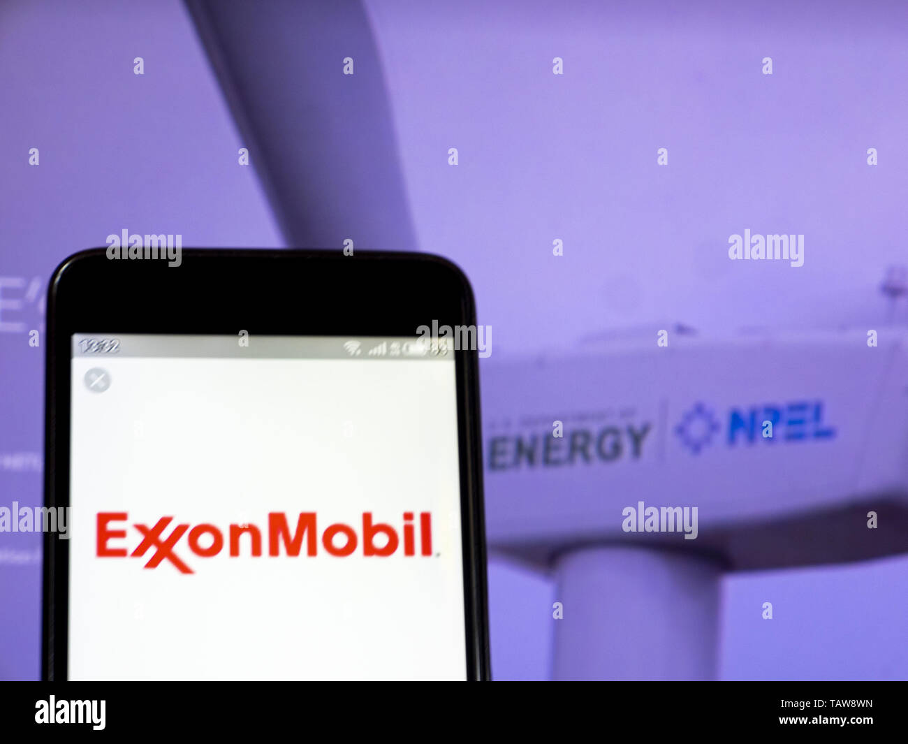 Ukraine. 28th May, 2019. In this photo illustration the Exxon Mobil Corporation logo is seen displayed on a smartphone Credit: Igor Golovniov/SOPA Images/ZUMA Wire/Alamy Live News - Stock Image