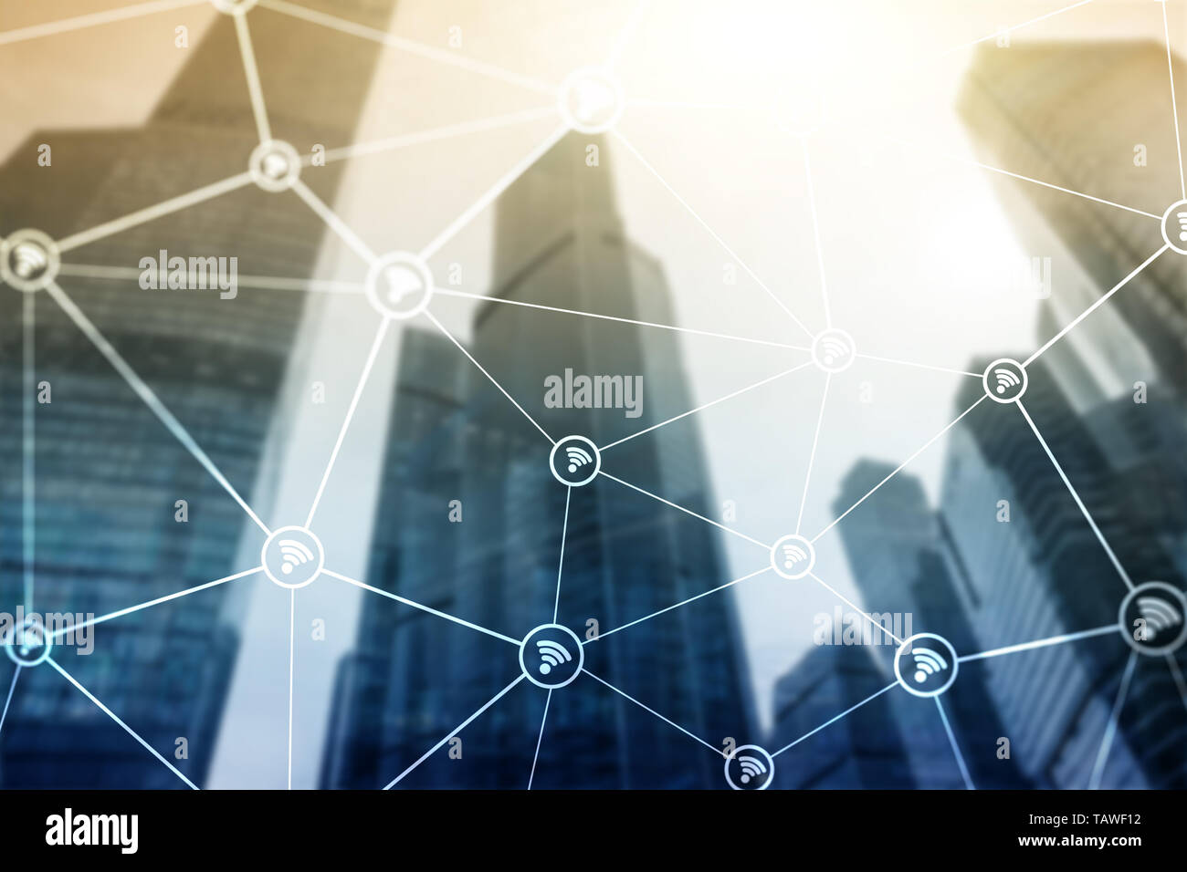 Wifi network on blurred business center background. - Stock Image