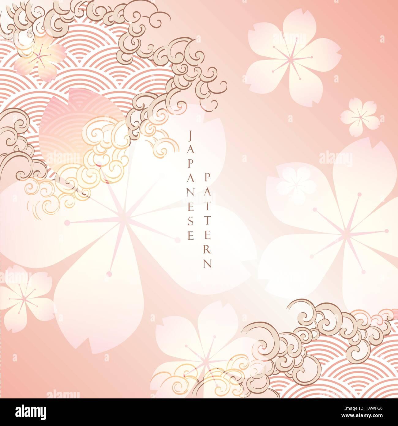 Cherry Blossom Template Vector Flower Background Japanese