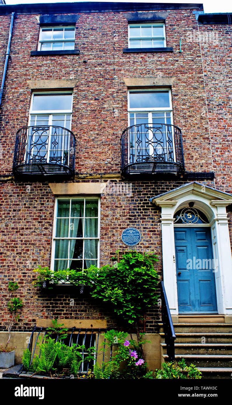 No 5 Greenfield Place, home of Engineer Robert Stephenson, Newcastle upon Tyne, England - Stock Image