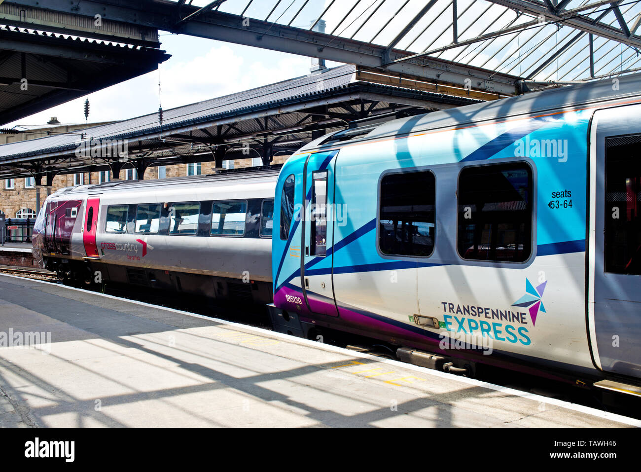 Transpennine and Cross Country Trains, Newcastle Central Station, Newcastle upon Tyne, England - Stock Image