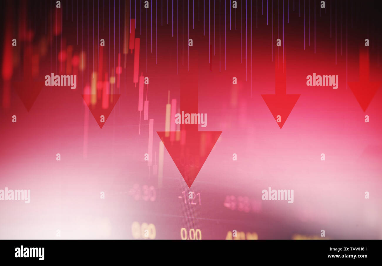 Stock crisis red price arrow down chart fall stock market exchange analysis of forex charts graph business and finance money crisis losing moving econ - Stock Image