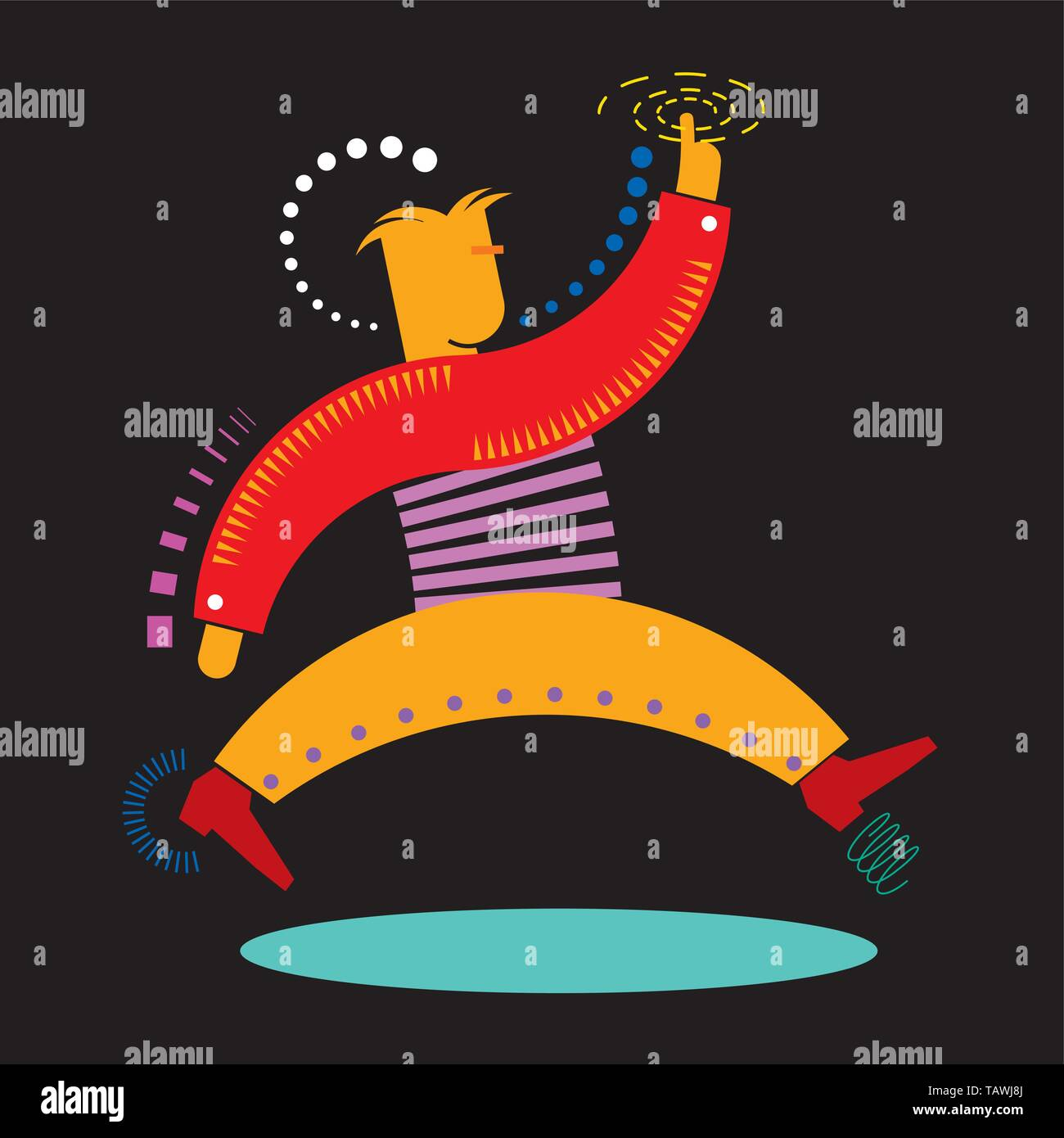 Illustration of the authentic dinamic man. Vector. eps10 - Stock Vector