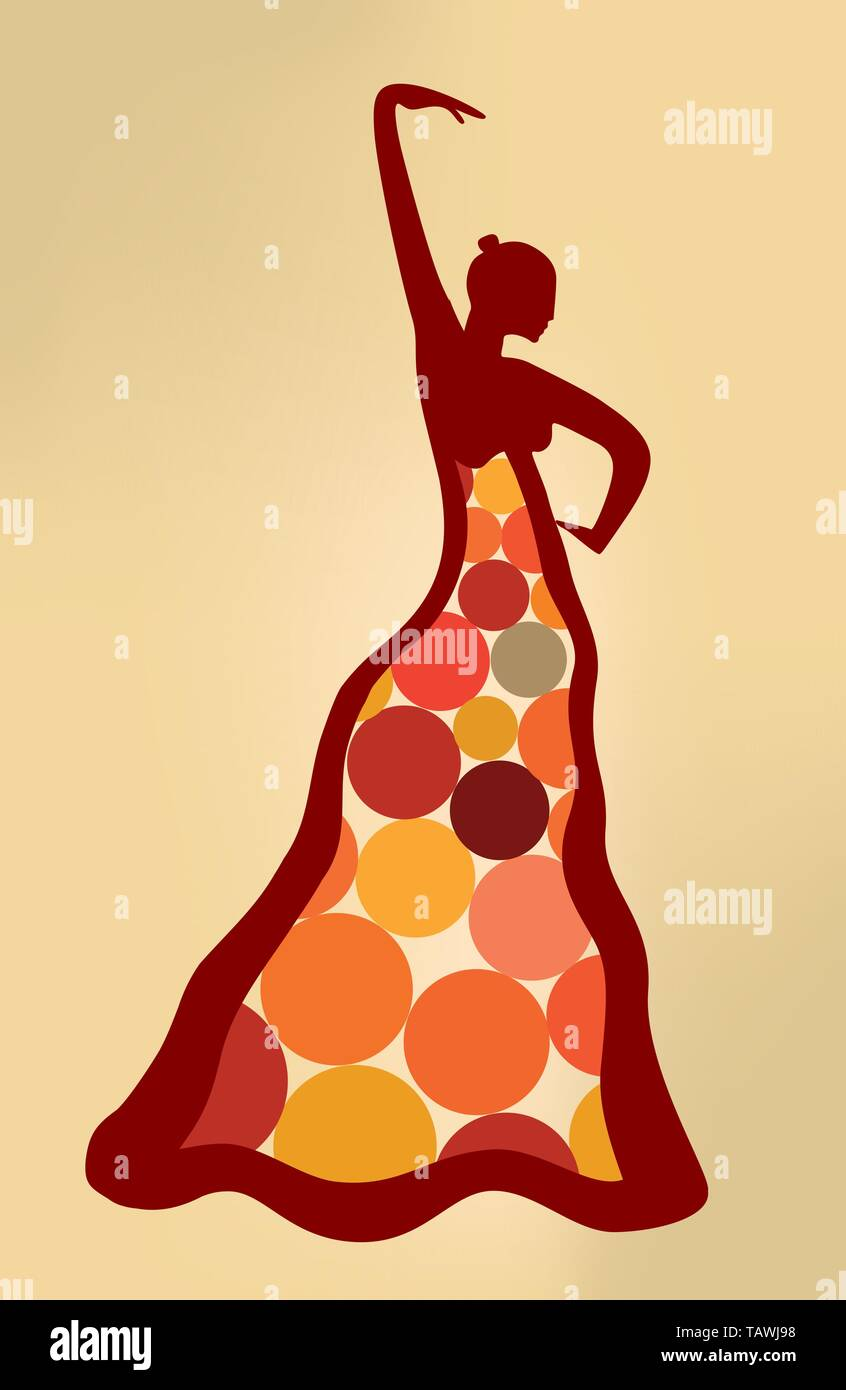 Surreal artistic illustration of flamenco dancer. Vector eps10. - Stock Image