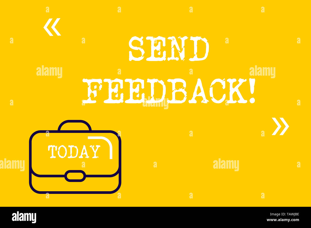 Word writing text Send Feedback. Business photo showcasing information or statements of opinion about something Brief Case Attache Case against Empty  - Stock Image