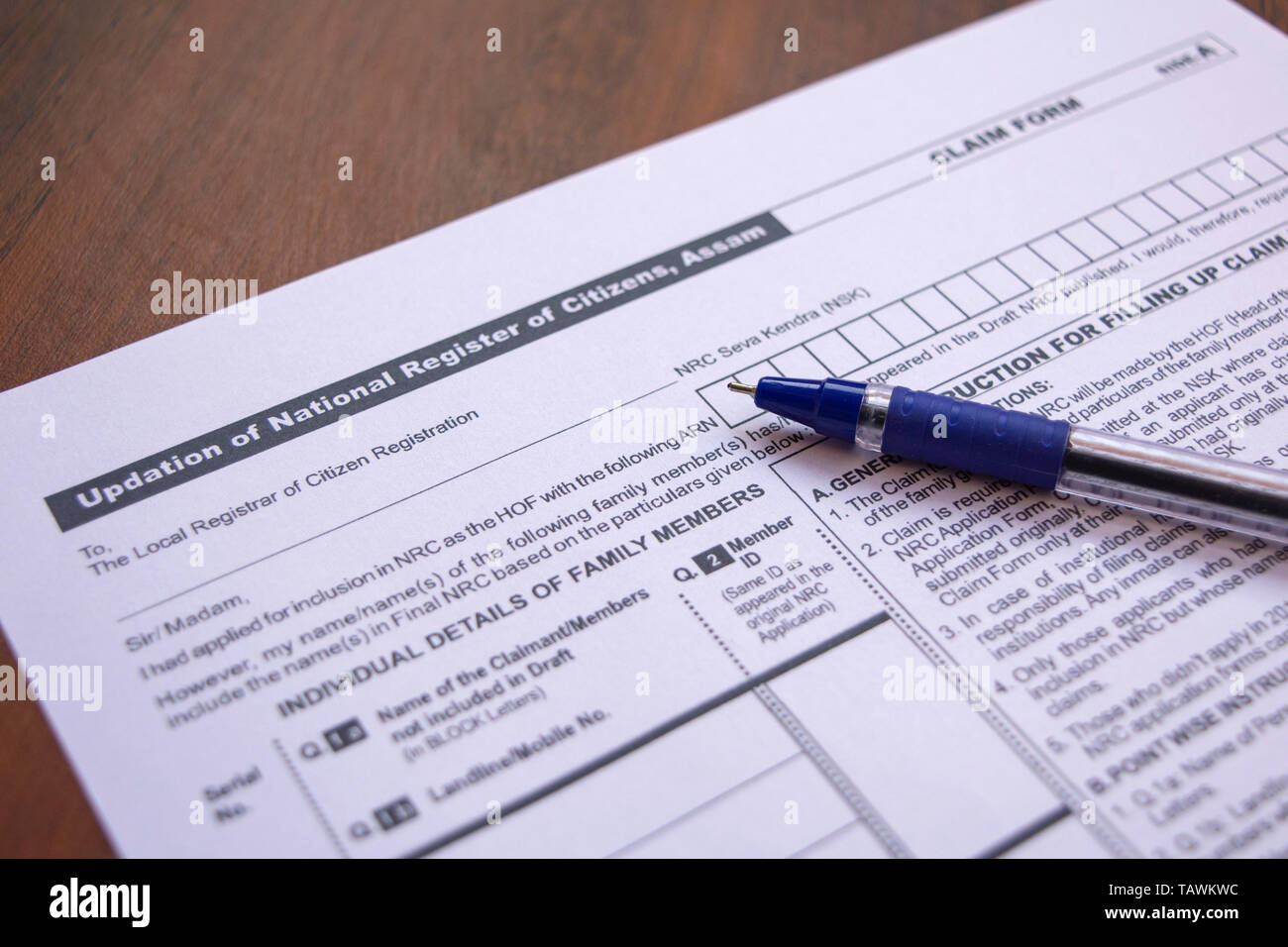 Maski, India- 20,May 2019 : Concept of filling NRC or National Register of Citizens form with pen on table. - Stock Image