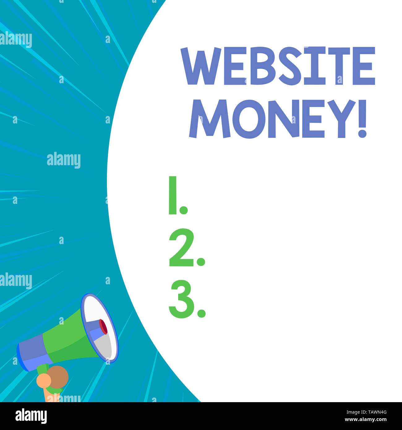 Conceptual hand writing showing Website Money. Concept meaning Refers to the website we want to promote Where money is earned - Stock Image