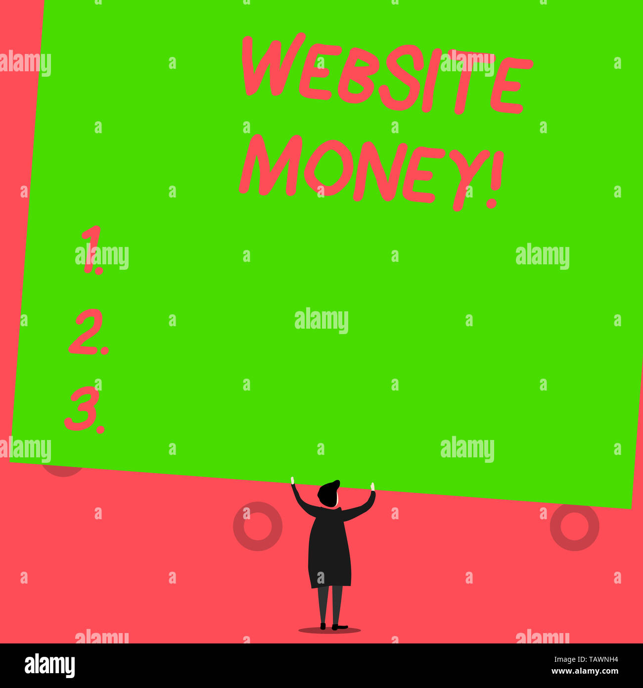 Writing note showing Website Money. Business concept for Refers to the website we want to promote Where money is earned - Stock Image